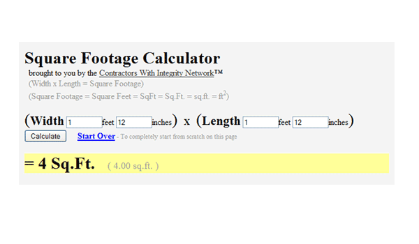 Square Footage Calculator – New Tool